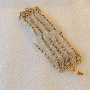 Multi strand whit quartz bracelet